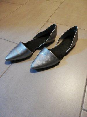 Marco Tozzi Patent Leather Ballerinas silver-colored
