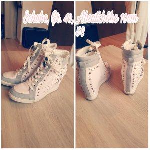 Sneaker con tacco bianco-grigio chiaro