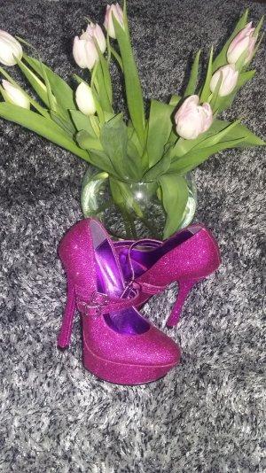 Schuhe im Glitzer in Fuchsia Farbe