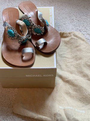 Michael Kors High-Heeled Toe-Post Sandals silver-colored-turquoise