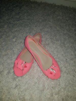 Bailarinas con tacón con punta abierta rosa neón