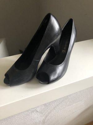 Schuhe, Peeptoe Pumps, schwarz, wie neu
