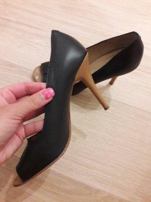 Schuhe Pumps Peeptoes Echtleder Made in Italy dunkelblau braun