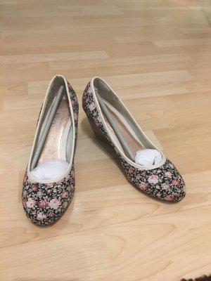 Schuhe Pumps Wedges *Gr. 38* Schwarz mit Blumenmuster *street*