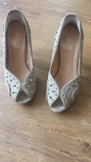 Schuhe Pumps Willdleder Optik grau gut erhalten Gr. 37, 9cm Absatz
