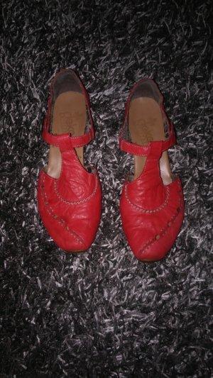 Rieker Strappy Ballerinas brick red leather