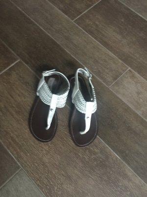 Schuhe Sandalen Sandaletten Zehentrenner Steve Madden weiß Silber braun Leder