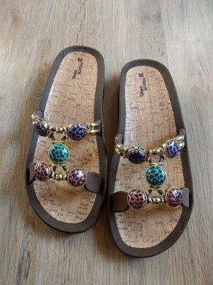 Schuhe Schlappen braun getigert Neu Linea Scarpa