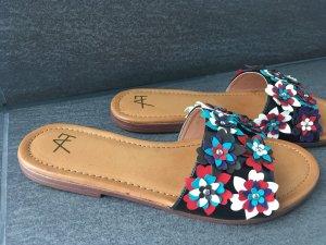 Schuhe Schlappen Sandalen neu bunt Blumen Print 38 Blogger anna Field
