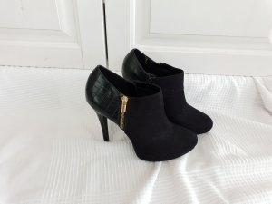 Schuhe Schwarz Boots Stiefel 40 faux Schlangen muster Steifelette Stöckelschuhe high heels