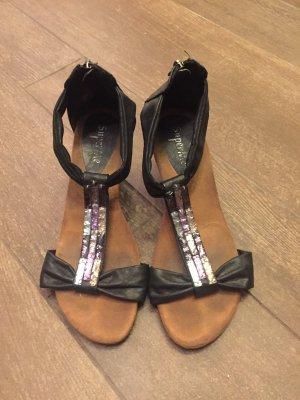 Schuhe Sommerschuhe Sandalen Keilabsatz Wedges mit Reisverschluss Steine bequem