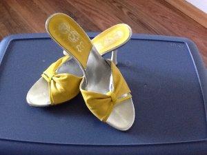 Heel Pantolettes yellow-white