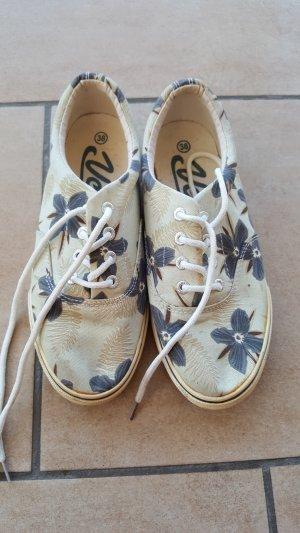 Schuhe Textil floraler Print 38 hellblau dunkelblau
