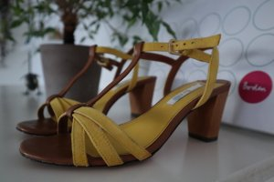 Boden Strapped High-Heeled Sandals yellow-brown leather
