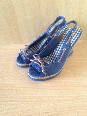 Schuhe Wedges High heels Peeptoes Pumps Keilabsatz Street 37 Marine Blau braun