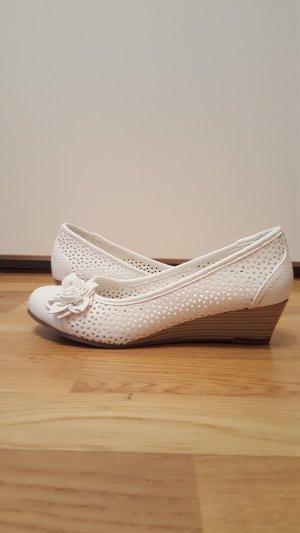 Deichmann Peep Toe Ballerinas white