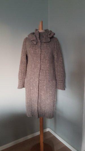 SCHUHMACHER grobstrick mantel schurwolle grau beige taupe gr.38