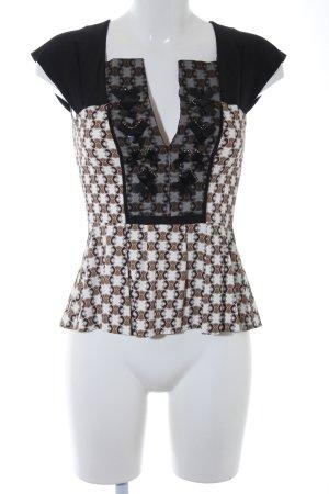 Schuhmacher Kurzarm-Bluse abstraktes Muster Elegant