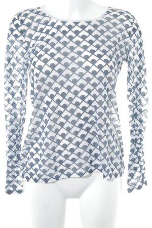 Schuhmacher Longsleeve weiß-graublau abstraktes Muster Casual-Look