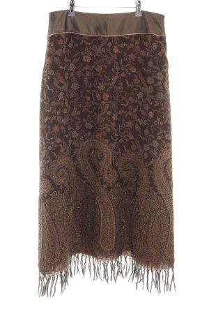 Schuhmacher Maxirock bronzefarben abstraktes Muster extravaganter Stil