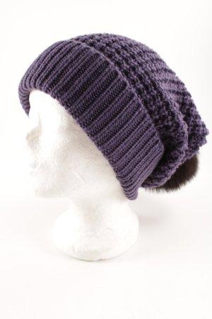 Schuhmacher Chapeau en tricot violet foncé-brun foncé style décontracté