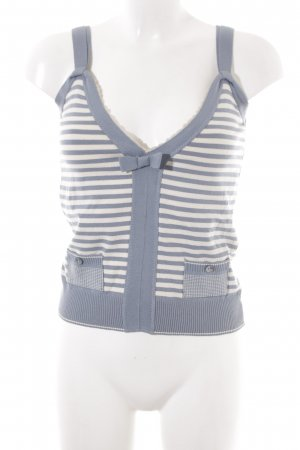 Schuhmacher Knitted Top slate-gray-natural white striped pattern classic style