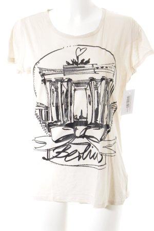 Schuhmacher T-Shirt nude-schwarz Schriftzug gedruckt minimalistischer Stil