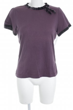 Schuhmacher T-Shirt purpur Materialmix-Look
