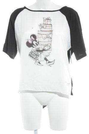 Schuhmacher T-Shirt schwarz-creme Motivdruck Casual-Look