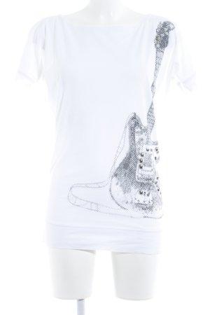 Schuhmacher T-Shirt weiß Motivdruck Rockabilly-Look