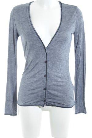 Schuhmacher V-Ausschnitt-Pullover grau-graublau meliert Elegant