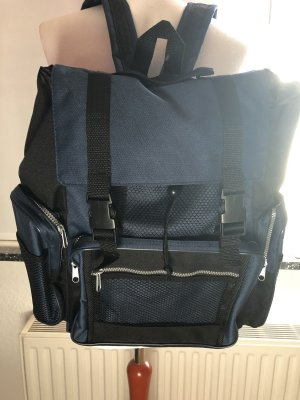School Backpack black-dark blue