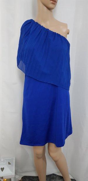 schulter freies kleid blau