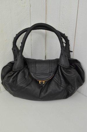 Schulter-Tasche Tasche Leder-Optik Schwarz Genarpt Magnetverschluss Geflochten