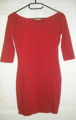Schulterfeies rotes Minikleid mit Bardot-Ausschnitt ca. Gr. S