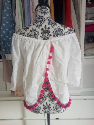 Schulterfrei Hippie Festival Pompons Tassle Pink Weiß off Shoulder Bluse Asos M 38