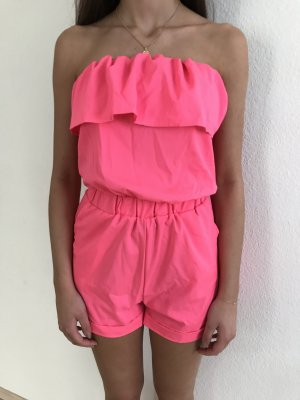 Schulterfrei, pink Playsuit / NEU!