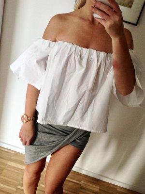 Schulterfrei Rüschen Blogger Top XS 34 Weiß Volants Zara