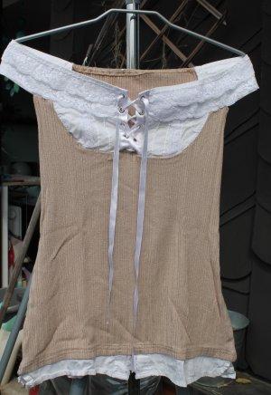 Schulterfrei Shirt Gr.36 wie neu im Wäschestyle