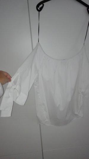 Schulterfreie Baumwoll Bluse Zara weiß Schleifen