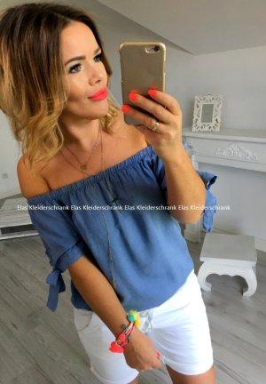 Schulterfreie Bluse Hemd Top Shirt Carmenausschnitt Tunika Oberteil Bändel passt bei S-L