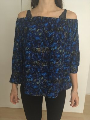 Schulterfreie Bluse mit Farbmuster