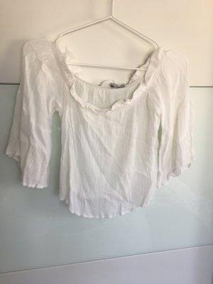 Schulterfreie Bluse weiß