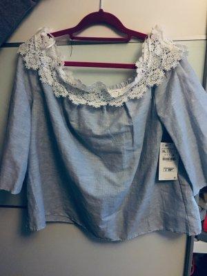 Zara Mouwloze blouse azuur-wit