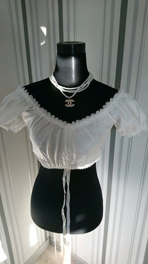 Blusa folclórica blanco tejido mezclado
