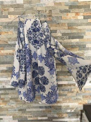 Zara Blusa de manga larga blanco-azul
