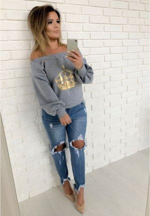 Schulterfreier Sweater m. Perlen besteickt + gold oversize Pullover Jumper Hoodie Pullover Blogger Pulli passt bei S-L