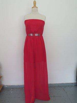 schulterfreies Abendkleid in Himbeerrot von Zara für Brautjungfern oder Abschlussball