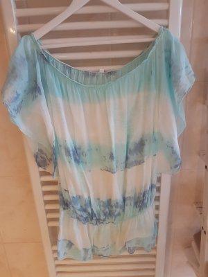 Batik shirt wit-turkoois