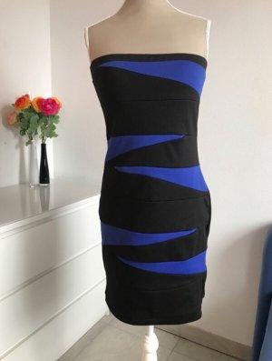 Schulterfreies blau schwarzes Minikleid